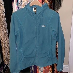 ❤️North face fleece hoodie zip up teal thumb holeM